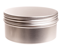 Aluminium tin ± 250 ml. round  with screwlid and EPE liner