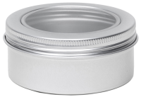 Aluminium tin ± 80 ml. round with screwlid and window