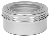 Aluminium tin ± 150 ml. round with screwlid and window