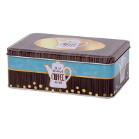 Rectangular biscuit tin with hinged lid