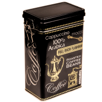 Rectangular coffee tin with clip closure