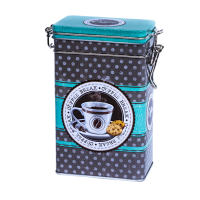 Rectangular tin 250 g with clip closure, embossed