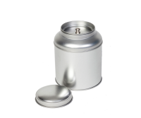 Round tin with domed lid and inner lid