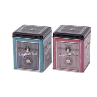 Square tin 100 g with hinged lid, embossed (assorted)
