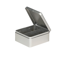 Rectangular tea tin with 4 compartments