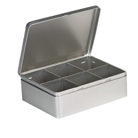 Rectangular tea tin with 6 compartments