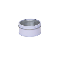 Round tin with screw lid and window, small