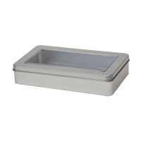 Rectangular tin with slip lid and window, medium