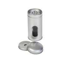 Round spice tin with spreader and window