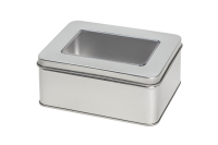 Rectangular tin with window and slip lid