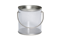 Transparent round tin with carry handle