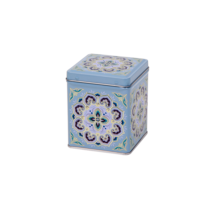 Square tin 100 g with hinged lid, embossed